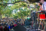 The Octopus Project performs at the Fun, Fun, Fun Festival in Austin Texas, November 8, 2008. The Octopus Project is an American indietronica band based in Austin, Texas. Its unique sound, blending pop and experimental elements, is a combination of digital and electronic sounds and noises. The band is composed of Josh Lambert, Toto Miranda, Yvonne Lambert, and Ryan Figg.