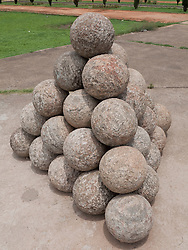 Cannon balls at Tippu Sultan's summer palace, Mysore