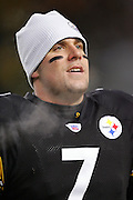 PITTSBURGH - JANUARY 23:  Rookie quarterback Ben Roethlisberger #7 of the Pittsburgh Steelers prior to the AFC Championship game against the New England Patriots at Heinz Field on January 23, 2005 in Pittsburgh, Pennsylvania. The Pats defeated the Steelers 41-27. ©Paul Anthony Spinelli  *** Local Caption *** Ben Roethlisberger
