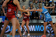Anna Thompson of the Tactix looks for options during the ANZ Premiership match between the Southern Steel and the Tactix, held at Edgar Centre, Dunedin, New Zealand, on 7th May 2017. Credit: Joe Allison / www.photosport.nz