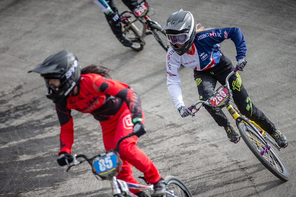 #289 during practice at the 2018 UCI BMX World Championships in Baku, Azerbaijan.
