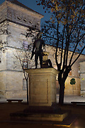 Statue of the architect Andres de Vandelvira, 1509–75, Spanish Renaissance architect, in the  Plaza Vazquez de Molina, Ubeda, Jaen, Andalusia, Spain. Vandelvira designed many of the Renaissance buildings in Ubeda and Baeza. Behind the statue is the Hospital de Santiago, built 1562-75 in Renaissance style, which is listed as a historic monument. The Renaissance buildings of Ubeda and Baeza are listed as a UNESCO World Heritage Site. Picture by Manuel Cohen