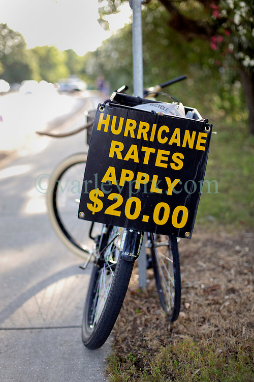 09 May 2015. New Orleans, Louisiana.<br /> The sign on the back of a bicycle at the New Orleans Jesters season opener at the Pan American Stadium against Jacksonville United. Jacksonville win 2-1 in a tense game.<br /> Photo; Charlie Varley/varleypix.com