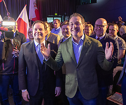 06.04.2019, Congresspark, Igls, AUT, 32. Ordentlicher Landesparteitag der FPÖ Tirol, im Bild v.l. Landesparteiobmann Markus Abwerzger, Bundesparteiobmann VK Heinz-Christian Strache // during the 32th Ordinary party convention of the FPÖ Tyrol at the Congresspark in Igls, Austria on 2019/04/06. EXPA Pictures © 2019, PhotoCredit: EXPA/ Johann Groder