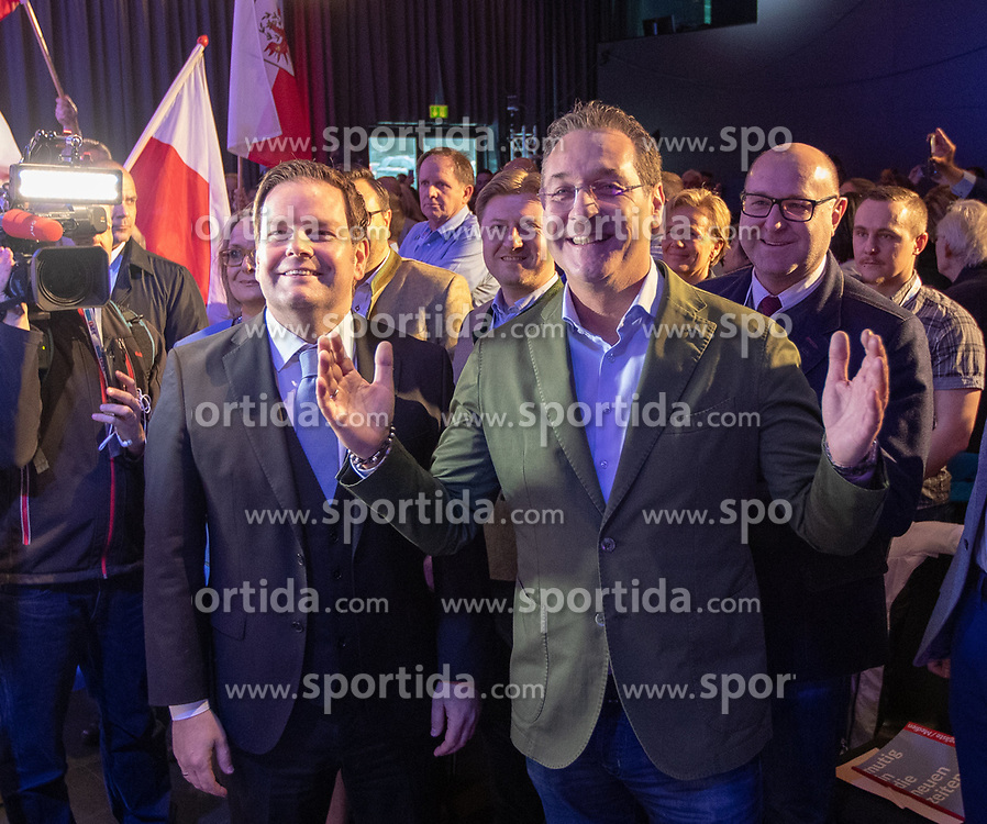 06.04.2019, Congresspark, Igls, AUT, 32. Ordentlicher Landesparteitag der FPÖ Tirol, im Bild v.l. Landesparteiobmann Markus Abwerzger, Bundesparteiobmann VK Heinz-Christian Strache // during the 32th Ordinary party convention of the FPÖ Tyrol at the Congresspark in Igls, Austria on 2019/04/06. EXPA Pictures © 2019, PhotoCredit: EXPA/ Johann Groder