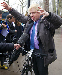"""Mayor of London Boris Johnson announcing he will create a """"Crossrail for the bike"""" as part of his plans to invest nearly ! 1 billion investment in London cycling, March 7, 2013. Photo by Andre Camara / i-Images."""