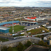 Dens Park home to Dundee FC and Tannadice home to Dundee United, pic taken from the rooftop of the adjacent block of flats...<br />