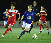Bristol Academy's Angharad James and Everton Ladies Claudia Walker during the Women's FA Cup fourth round match between Everton Ladies and Bristol Academy ladies at the Select Securities Stadium, Widnes, United Kingdom on 24 March 2015. Photo by Andrew Morfett.
