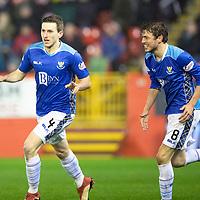 Aberdeen v St Johnstone…08.12.18…   Pittodrie    SPFL<br />Blair Alston celebrates scoring saints second goal<br />Picture by Graeme Hart. <br />Copyright Perthshire Picture Agency<br />Tel: 01738 623350  Mobile: 07990 594431