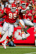KANSAS CITY, MO - SEPTEMBER 26:   Ron Edwards #95 and Tamba Hall #91 of the Kansas City Chiefs celebrate after a big play against the San Francisco 49ers at Arrowhead Stadium on September 26, 2010 in Kansas City, Missouri.  The Chiefs defeated the 49ers 31-10.  (Photo by Wesley Hitt/Getty Images) *** Local Caption *** Ron Edwards; Tamba Hall