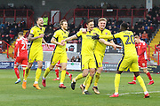 Will Boyle celebrates scoring the 5th goal during the EFL Sky Bet League 2 match between Crawley Town and Cheltenham Town at the Checkatrade.com Stadium, Crawley, England on 24 March 2018. Picture by Antony Thompson.