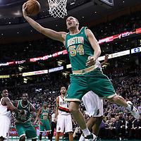 09 March 2012: Boston Celtics center Greg Stiemsma (54) goes for the reverse layup during the Boston Celtics 104-86 victory over the Portland Trail Blazers at the TD Banknorth Garden, Boston, Massachusetts, USA.