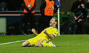 Chelsea's Branislav Ivanovic celebrates his goal during the Champions League match between Paris Saint-Germain and Chelsea at Parc des Princes, Paris, France on 17 February 2015. Photo by Phil Duncan.