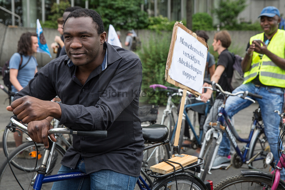 Berlin, Germany - 09.06.2017<br /> <br /> &rdquo;Visitez les profiteurs&quot; bike rally against the upcoming G20-Africa conference.<br /> <br /> &rdquo;Visitez les profiteurs&rdquo; Fahrrad Demonstration gegen die bevorstehende G20-Afrika Konferenz.<br /> <br /> Photo: Bjoern Kietzmann