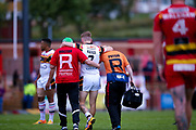A very groggy Bradford Bulls scrum half Joe Keyes (7) is led off the field injured during the Kingstone Press Championship match between Dewsbury Rams and Bradford Bulls at the Tetley's Stadium, Dewsbury, United Kingdom on 4 June 2017. Photo by Simon Davies.