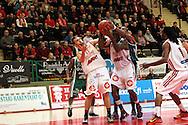 15.11.2014, Pyynikin palloiluhalli, Tampere.<br /> Korisliiga 2014-15, Tampereen Pyrintö - KTP-Basket, Kotka.<br /> Ville Pekkola & Will Harris (Pyrintö) v LaMonte Ulmer (KTP).