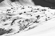 Huts and boulders in the area of Gwalpeten, Muotathal, Schwyz, Switzerland