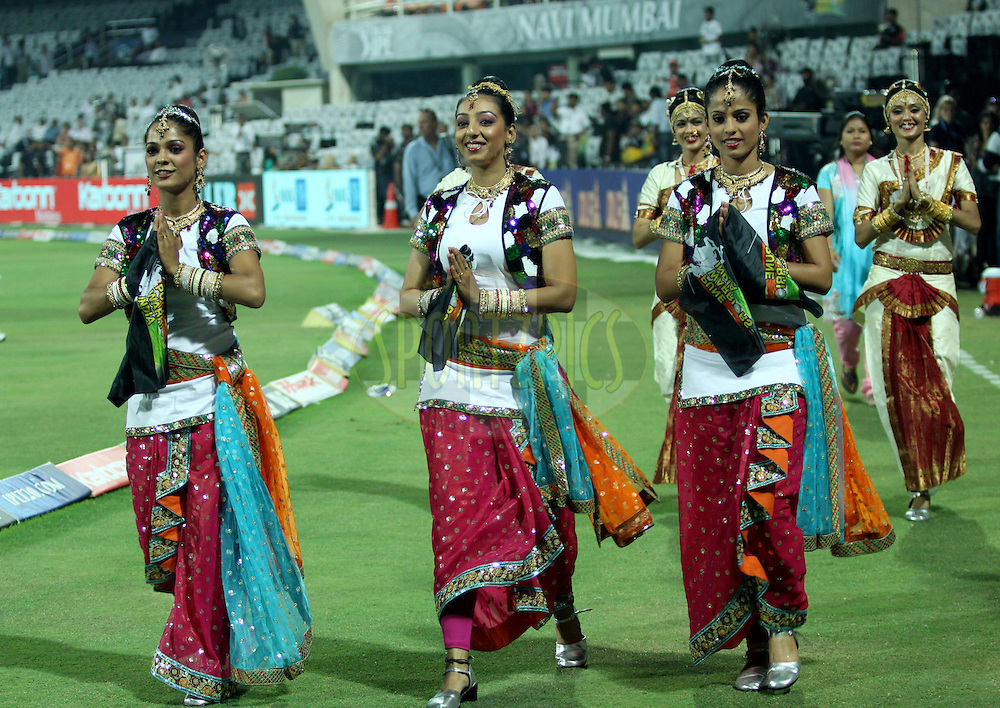 Cheer Leaders during  match 10 of the Indian Premier League ( IPL ) Season 4 between the Pune Warriors and the KJochi Tuskers Kerala held at the Dr DY Patil Sports Academy, Mumbai India on the 12th April 2011..Photo by Sandeep Shetty/BCCI/SPORTZPICS
