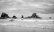 View from Indian Beach looking south towards Submarine Rock and Bald Point in Ecola State Park, Oregon.
