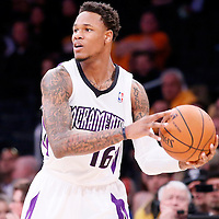 28 February 2014: Sacramento Kings shooting guard Ben McLemore (16) looks to pass the ball during the Los Angeles Lakers 126-122 victory over the Sacramento Kings at the Staples Center, Los Angeles, California, USA.