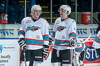 KELOWNA, CANADA - JANUARY 2: Lucas Johansen #7 and Gordie Ballhorn #4 of Kelowna Rockets share a laugh during warm up against the Victoria Royals on January 2, 2016 at Prospera Place in Kelowna, British Columbia, Canada.  (Photo by Marissa Baecker/Shoot the Breeze)  *** Local Caption *** Lucas Johansen; Gordie Ballhorn;