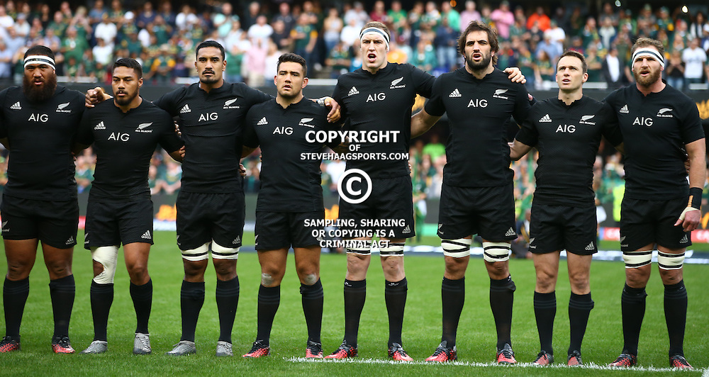 DURBAN, SOUTH AFRICA, 8 October, 2016 - The All Blacks players singing their national anthem during the Rugby Championship match between South Africa and New Zealand at Kings Park in Durban, South Africa. (Photo by Steve Haag)