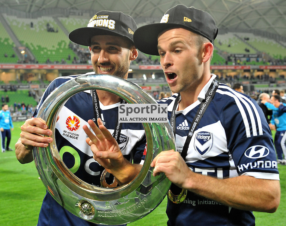 Leigh Broxham, Melbourne Victory with the 2015 Hyundai A-League trophy.<br /> Hyundai A-League Grand Final match between Melbourne Victory &amp; Sydney FC held at Aami Park Stadium, Melbourne, Victoria on the 17th May 2015.<br /> WAYNE NEAL | SportPix.org.uk