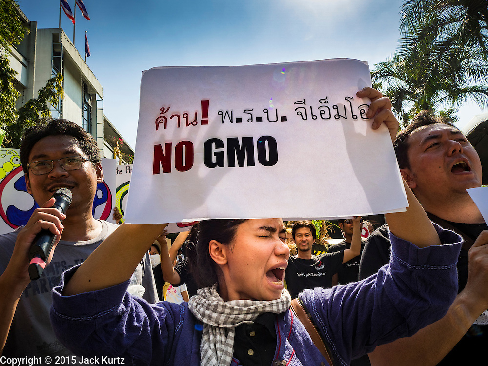 09 DECEMBER 2015 - BANGKOK, THAILAND:  A woman chants against the GMO seeds during a rally in Bangkok. About 50 environmental activists met near Government House in Bangkok to protest against the Biological Safety Bill being debated in the Thai legislature. The bill will allow use of genetically modified organisms (GMOs) for commercial purposes. Political gatherings of more than five people are prohibited by the military government and the protestors were not allowed to march to Government House or directly confront legislators.    PHOTO BY JACK KURTZ