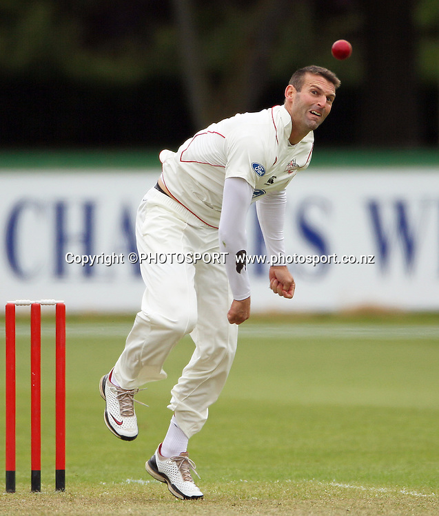 Andrew Ellis bowling for Canterbury. Plunket Shield Cricket, Day 1 of the 4 Day match between Canterbury Wizards v Wellington Firebirds. Played at Mainpower Oval, Rangiora, Monday 19 November 2012. Photo : Joseph Johnson/photosport.co.nz