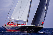 Rainbow, J Class, sailing in the St. Barth's Bucket Regatta, day one.