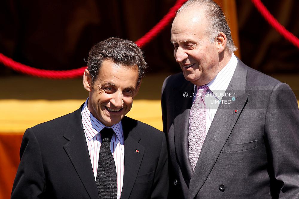Madrid. El Pardo Palace. Carla Bruni Sarkozy and Nicolas Sarkozy are received by King Juan Carlos of Spain and Queen Sofia of Spain at El Pardo Palace