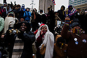 Obama Inauguration train -- Baltimore, Maryland. Crowds at the Inner Harbor watch President-Elect Obama's speech from Baltimore on a jumbotron.