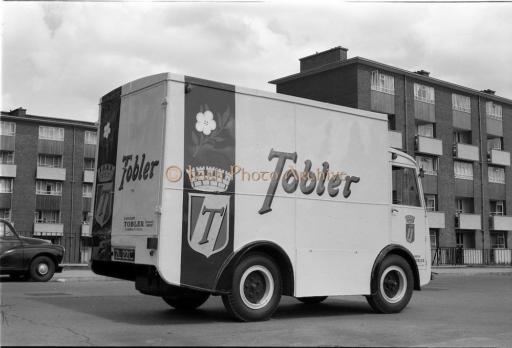"20/07/1962<br /> 07/20/1962<br /> 20 July 1962<br /> Williams and Woods ""Tobler"" NCB electric van at Williams and Woods, King's Inns Street, Dublin. Tobler chocolate produced the Toblerone chocolates."