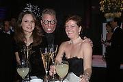 Josephine Melville-Smith, David Falcon and Lady Aldeborough. The Black and White Winter Ball. Old Billingsgate. London. 8 February 2006. -DO NOT ARCHIVE-© Copyright Photograph by Dafydd Jones 66 Stockwell Park Rd. London SW9 0DA Tel 020 7733 0108 www.dafjones.com