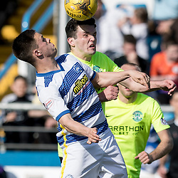 Lawrence Shankland and John McGinn (Hibernian)  during the Ladbrokes Championship match between Greenock Morton &amp; Hibernian at Cappielow Stadium on 8 April 2017<br /> <br /> Picture: Alan Rennie