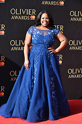 © Licensed to London News Pictures. 09/04/2017. AMBER RILEY attends The Oliver Awards held at the Royal Albert Hall. London, UK. Photo credit: Ray Tang/LNP