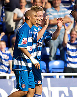 Photo: Daniel Hambury.<br /> Reading v Burnley. Coca Cola Championship.<br /> 29/08/2005.<br /> Reading's Kevin Doyle celebrates his goal.