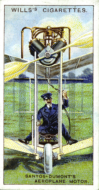Alberto Santos-Dumont (1873-1932) Brazilian aeronaut in his aeroplane of 1906, the machine in which he made first recorded flight in Europe (22 August 1906).  Fitted with Antoinette engine Chromolithograph card 1915.