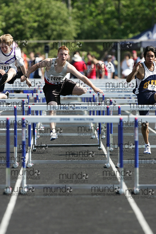 Hamilton, Ontario ---06/06/08--- Rob Howsam of Port Perry in Port Perry competes in the sprint hurdles at the 2008 OFSAA Track and Field meet in Hamilton, Ontario..