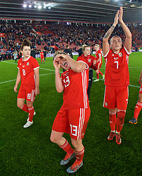 SOUTHAMPTON, ENGLAND - Friday, April 6, 2018: Wales Rachel Rowe celebrates after a hard fought goal-less draw against England during the FIFA Women's World Cup 2019 Qualifying Round Group 1 match between England and Wales at St. Mary's Stadium. (Pic by David Rawcliffe/Propaganda)