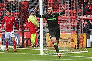 Forest Green Rovers Christian Doidge(9) scores a goal 1-3 and celebrates during the EFL Sky Bet League 2 match between Crewe Alexandra and Forest Green Rovers at Alexandra Stadium, Crewe, England on 27 April 2019.