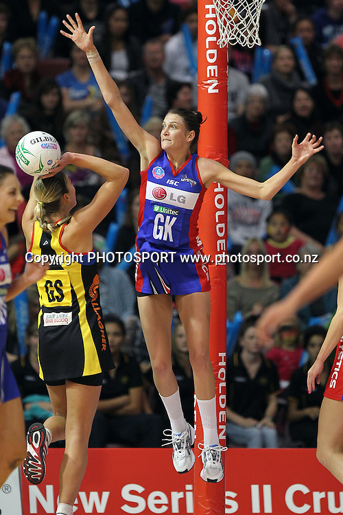 Mystics' Anna Scarlett pressures the shot from Magic's Irene Van Dyk. ANZ Netball Championship, Preliminary Final, Waikato/BOP Magic v LG Northern Mystics. Mystery Creek Events Centre, Hamilton, New Zealand. Sunday 15th May 2011. Photo: Anthony Au-Yeung / photosport.co.nz
