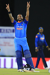August 20, 2017 - Dambulla, Sri Lanka - Indian cricketer Shikhar Dhawan celebrates after scoring  hundred runs during the 1st One Day International cricket match bewtween Sri Lanka and India at Dambulla International cricket stadium situated in the Central Province and the first and only International cricket ground in the dry zone of Sri Lanka on Sunday 20 August 2017. (Credit Image: © Tharaka Basnayaka/NurPhoto via ZUMA Press)