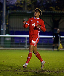 BANGOR, WALES - Saturday, November 17, 2018: Wales' Christian Norton looks dejected after missing a chance during the UEFA Under-19 Championship 2019 Qualifying Group 4 match between Sweden and Wales at the Nantporth Stadium. (Pic by Paul Greenwood/Propaganda)