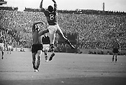Kerry player jumps high for the ball during the All Ireland Senior Gaelic Football Final Kerry v Down in Croke Park on the 22nd September 1968. Down 2-12 Kerry 1-13.
