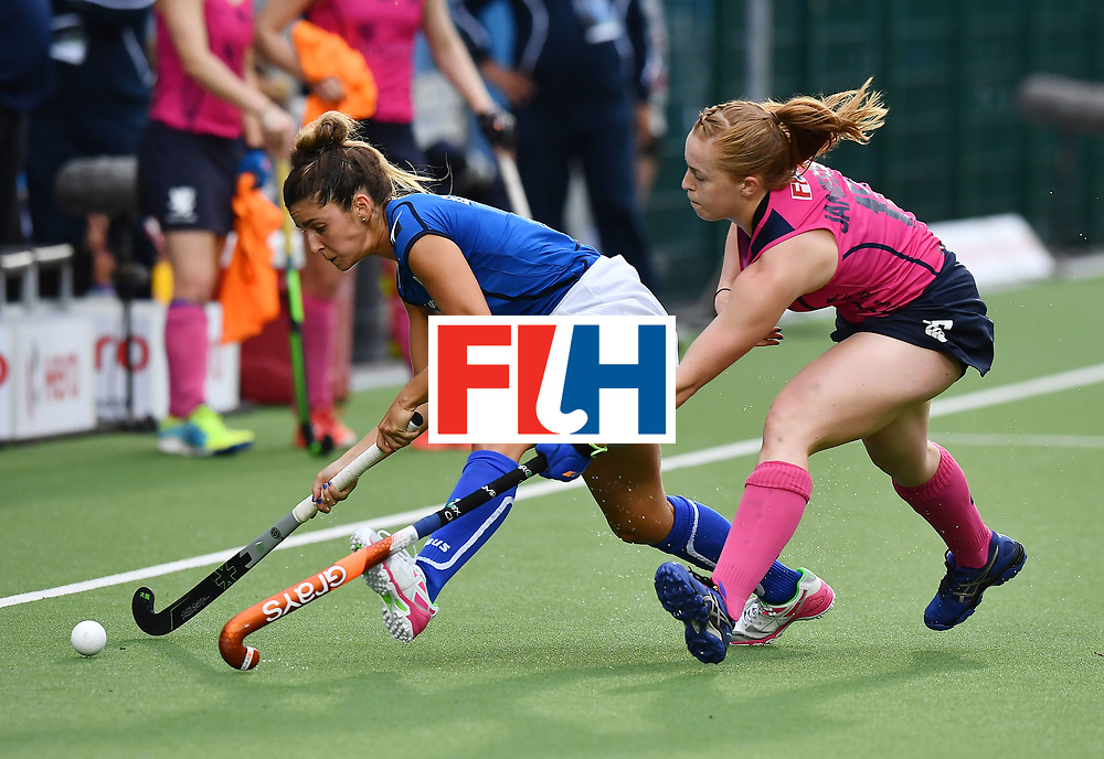 BRUSSELS, BELGIUM - JUNE 24: Eugina Bianchi (L) of Italy and Sarah Jamieson (L) of Scotland during the FINTRO Women's Hockey World League Semi-Final Pool A game between Italy and Scotland on June 24, 2017 in Brussels, Belgium. (Photo by Charles McQuillan/Getty Images for FIH)