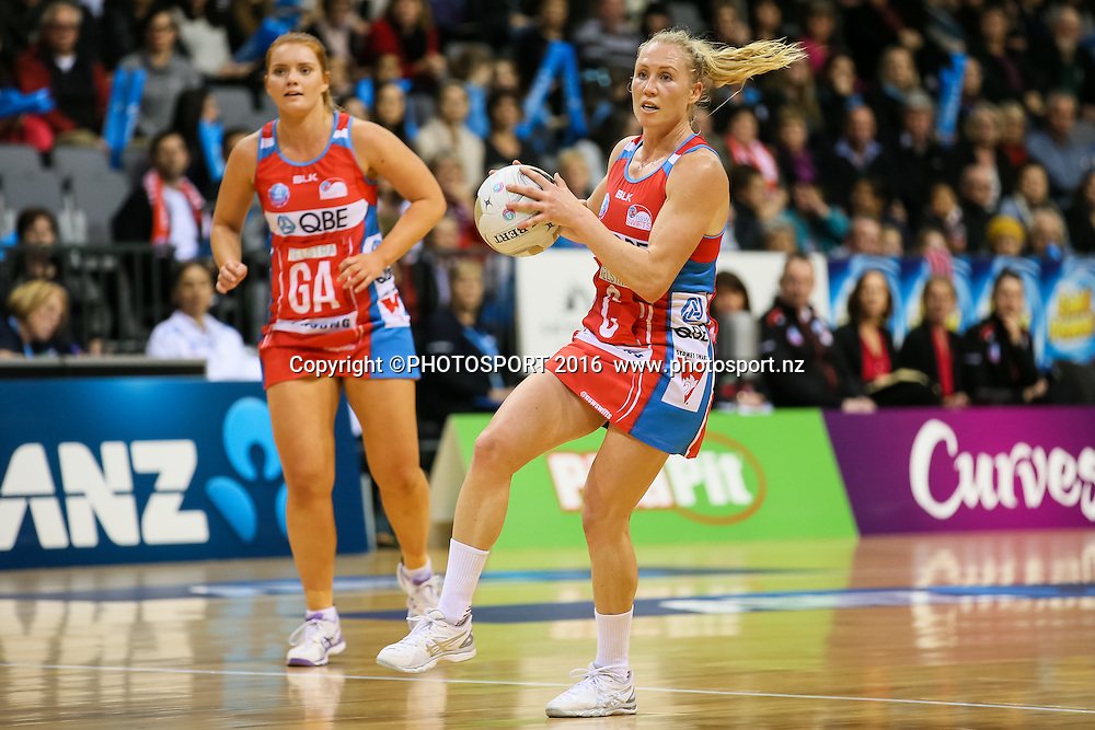 NSW Swift's Laura Langman in action during the ANZ Netball Championship semi final between the Waikato BOP Magic and the NSW Swifts, played at Claudelands Arena, Hamilton, New Zealand on Monday 25 July 2016.  Copyright Photo: Bruce Lim / www.photosport.nz