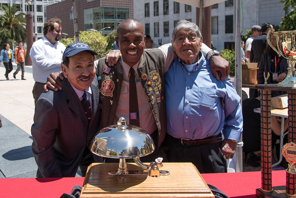 World Champion of the 54th Annual Cable Car Bell Ringing Contest Byron Cobb with Jose and Gilberto Godoy | July 13, 2017