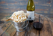 Truffle popcorn and wine at Silo restaurant and bar in Carbondale, Colorado.