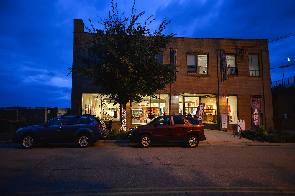 Exterior view of Zeber-Martell Clay Studio and Art Gallery in the evening.